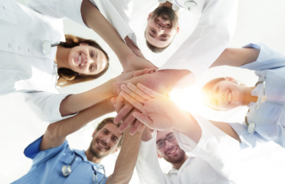 bottom view of a physician team